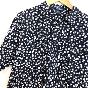 Polo Ralph Lauren navy white flowers polo shirt M